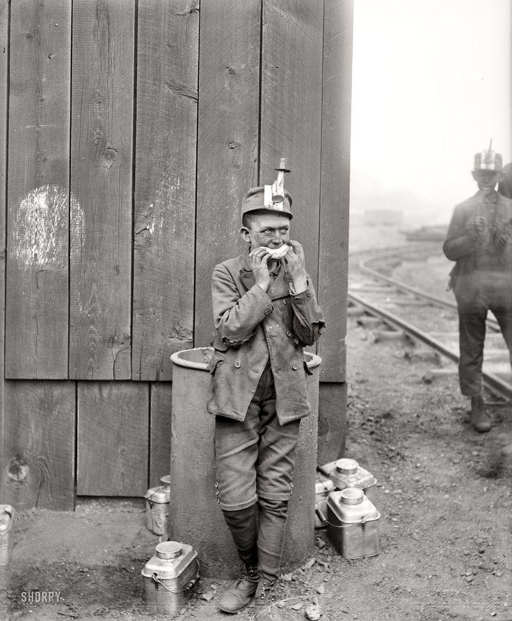 "Working Lunch: Kingston, Pennsylvania, circa 1900. ""Breaker boy, Woodward coal mines."" 8x10 inch dry plate glass negative, Detroit Publishing Company."