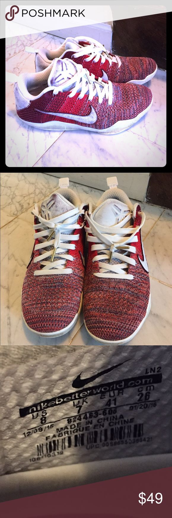 Kobe Bryant Basketball Sneakers--Gently loved Unique red woven print with white leather trim.  Tons of life left.  So adored them and wore them only as his special sneakers. Nike Shoes Sneakers