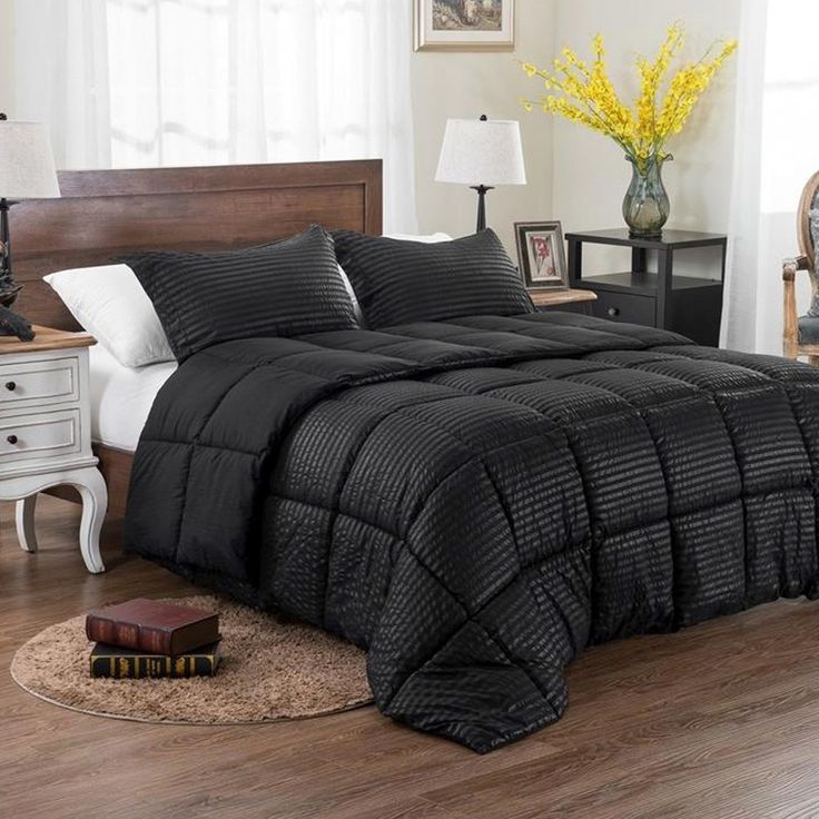 3pc reversible solid emboss striped comforter set oversized and overfilled 2 bedding looks in 1 black