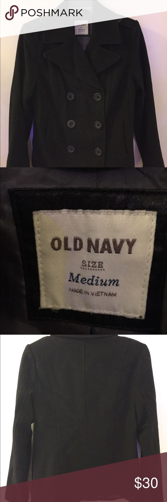 "Old Navy pea coat- medium Medium sized black Old Navy pea coat. Bought new but only worn a handful of times. Size didn't fit me right. I'm 5'2"" and it hits me right at the hips for reference. Well cared for, smoke free home. Old Navy Jackets & Coats Pea Coats"