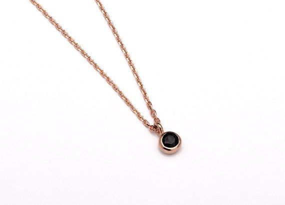 Tiny Black Spinel Charm Necklace, Sterling Silver & Gold Plated, Dainty Everyday Necklace, Minimalist Layering Necklace, Gift, NCK102 B