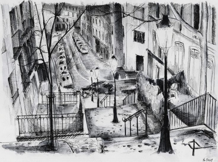 Une nuit à Montmartre. Paris. Black ink drawing. By Nicolas Jolly. #drawing #watercolor #painting #art