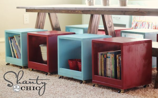 tutorial: how to build rolling storage cubes/stools for a playroom or classroom, $14 each