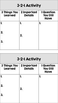 Free! Exit Ticket: 3-2-1 Activity Cards