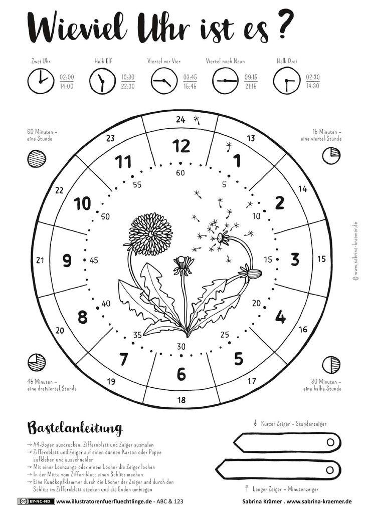 Download als PDF: ABC und 123 – Uhrzeit Uhr Bastelanleitung – Krämer