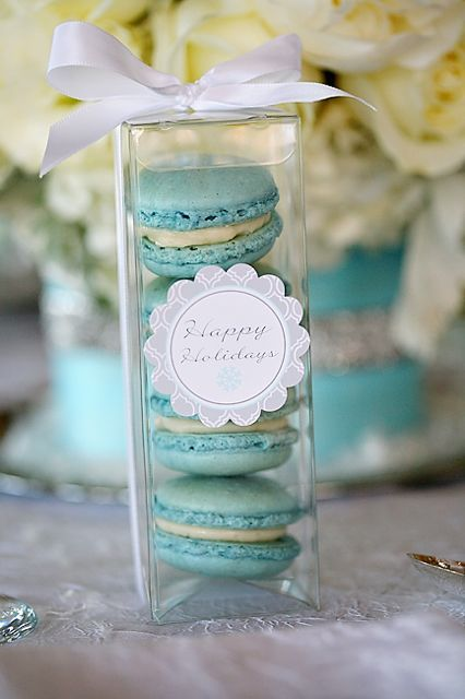Macarons in wedding colors. Not to be confused with a macaroon!   http://en.wikipedia.org/wiki/Macaron