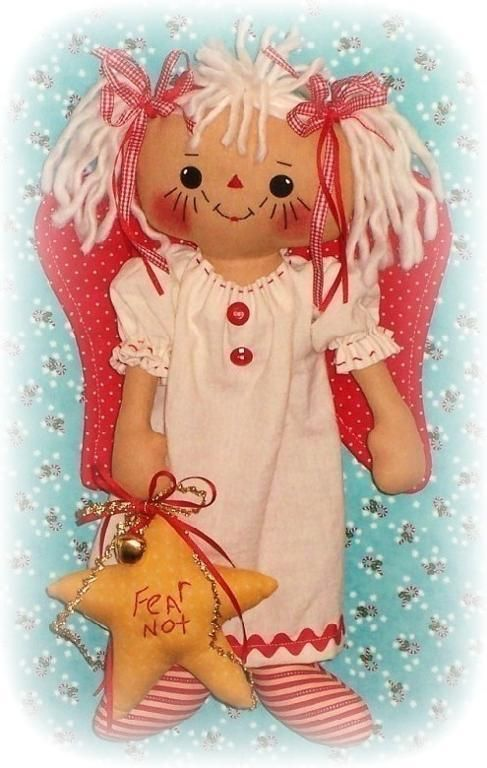 Cloth Angel Doll Christmas Decoration from Oh Sew Dollin | Check out patterns on Craftsy!