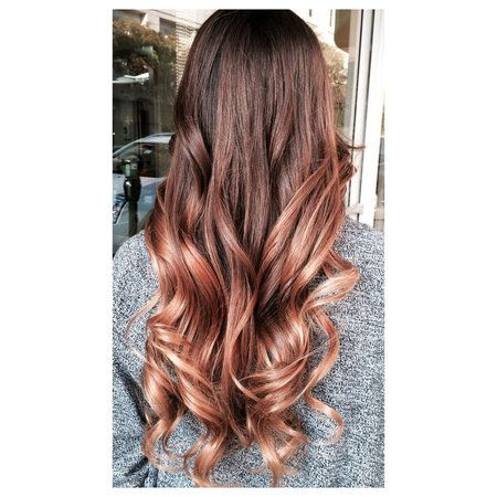 This rose gold hair on brown hair is amazing... It's less pink and more deep toned