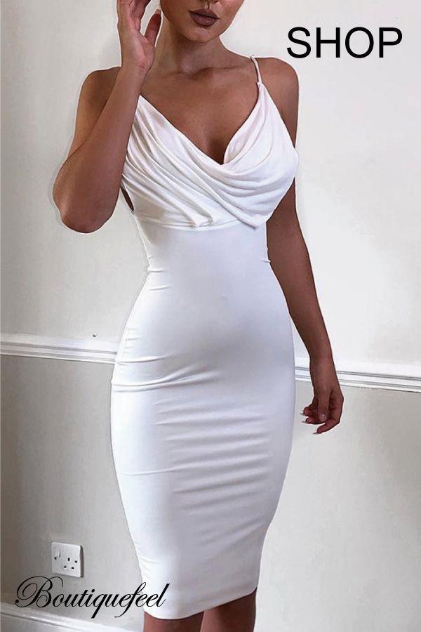 4a825891f4d Spaghetti Strap Cowl Neck Bodycon Dress. Spaghetti Strap Cowl Neck Bodycon Dress  White Club Dresses ...