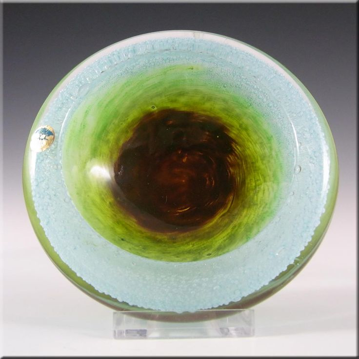 Ekenas Blue + Green Glass Bowl by John-Orwar Lake - Label - £50.00