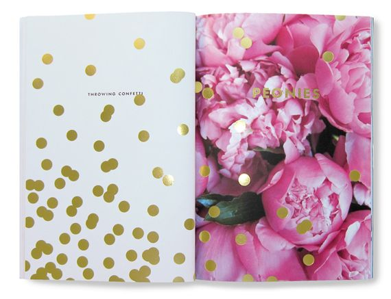: Inspiration, Gold Polka Dots, Favorite Things, Gold Confetti, Throw Confetti, Kate Spade, Gold Dots, Design, Pink Peonies