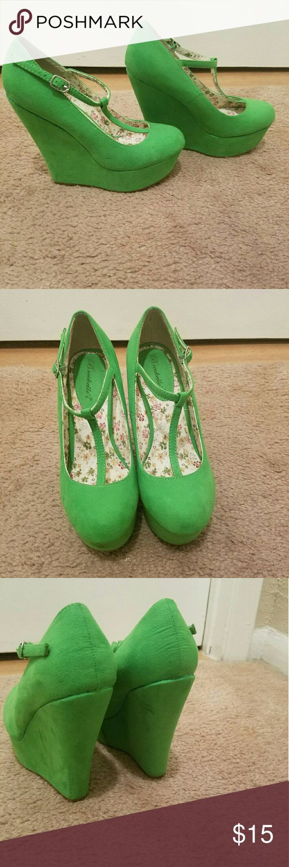 Lime-ish green wedges Never worn, suede wedges Breckelles Shoes Wedges