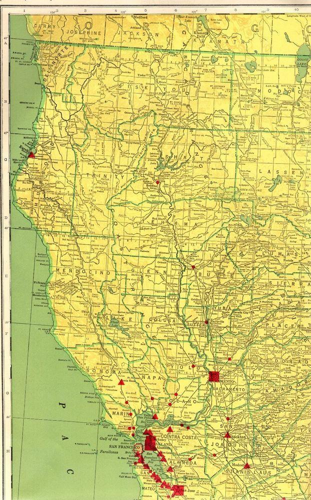1963 RARE Vintage Northern CALIFORNIA Map w RAILROADS Poster Print ...