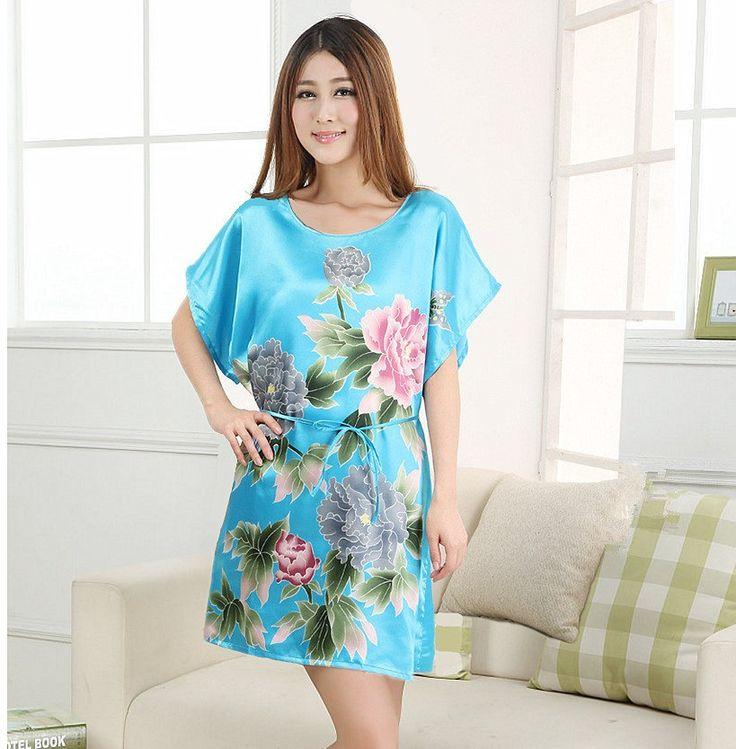 Hot Sale 21 Style Plus Size Women's Faux Silk Robe Bath Gown Nightgown Summer Sleep shirts New Style Sleepwear Printed