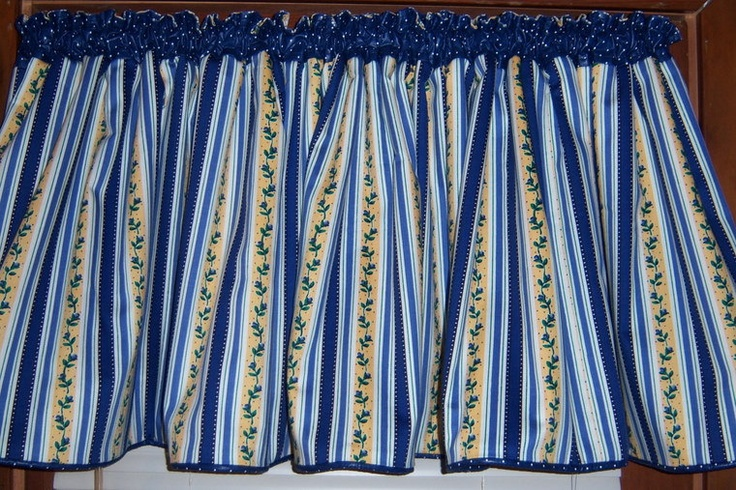Blue And Yellow Plaid Curtains   SALE - Wide Blue/ Yellow/ White Striped Kitchen…