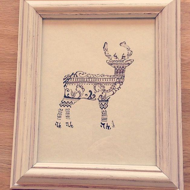 Deer on white frame