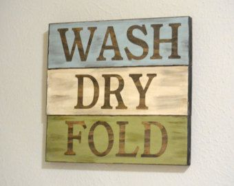 Rustic Wall Decor - Wash Dry Fold Sign (blue) - Laundry Room Decor - Laundry  Decor - Laundry Room Sign