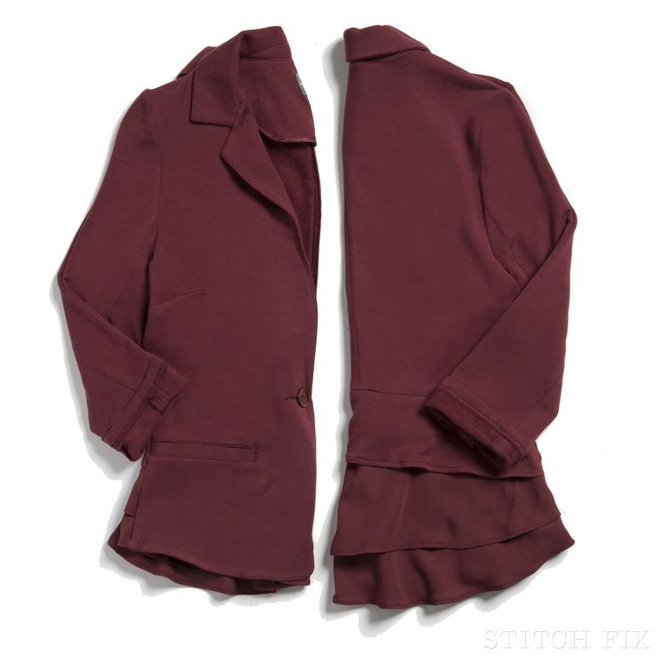 Our Friday Fixation: a classic fall blazer with a feminine feel. (Shown: Kristah Ruffle Knit Blazer)- LOVE THIS COLOR!