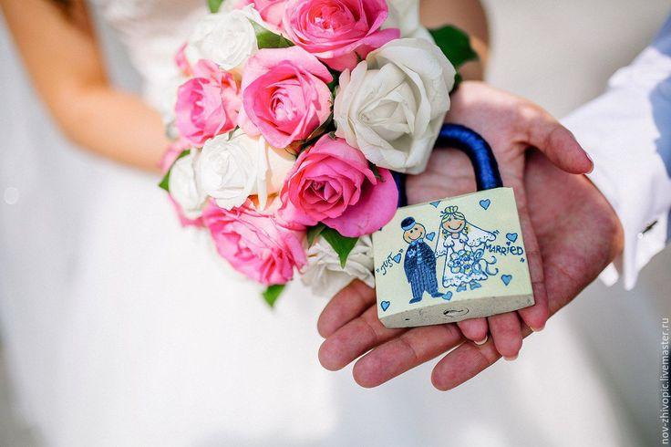 """Купить Свадебный замочек """"Just Married"""". Роспись. - Свадебный замочек, свадебный замок, замок, замочек"""