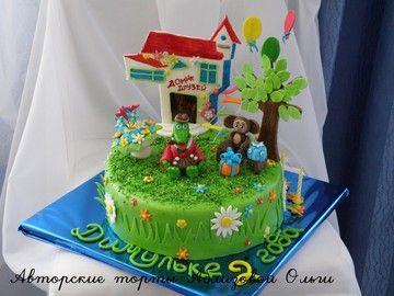 торт домик для друзей, торт крокодил гена и чебурашка, торт с Геной и Чебурашкой