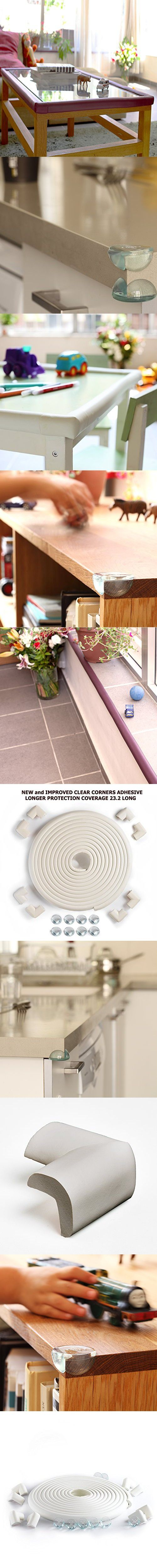 23.2ft LONG-16 Corners Guards Protector. SafeBaby & Child Safety Baby Proof Clear protective bumper guard for furniture. Cushion foam strip bricks pad childproof fireplace guard for toddlers.Off-White