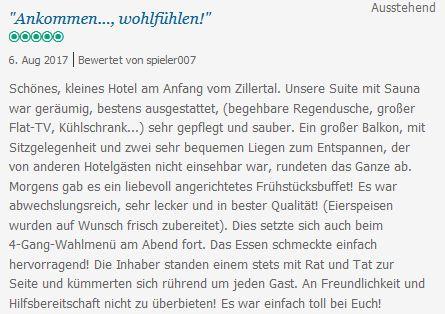 meine Lieblingsbewertung www.zum-senner.at