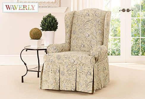 floral slipcovers for wingback chairs | 17 Best images about Decorate with floral patterns on ...