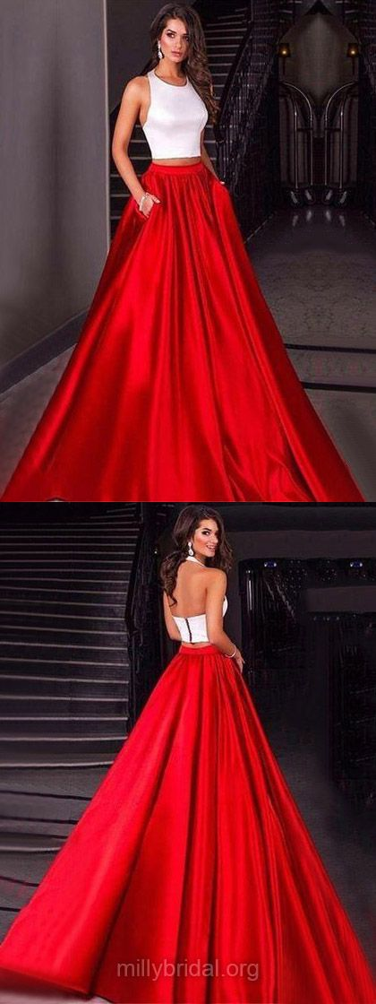 Two Piece Prom Dresses,Ball Gown Prom Dresses,Long Prom Dresses,2018 Prom Dresses For Teens, Halter Prom Dresses Red,Modest Prom Dresses Satin #promdress #formaldress