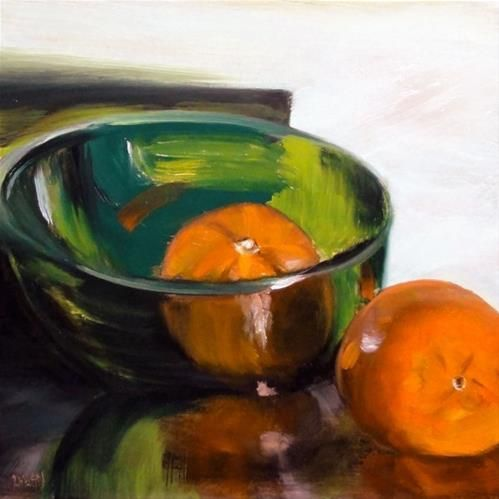 Green glass bowl with two cutie clementines original for Original fine art paintings for sale