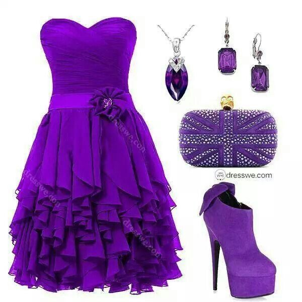 Pretty purple outfit - dress purse necklace earings and shoes - all purple