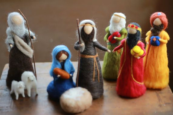 Essential Nativity Set Needle felted by CloudBerryCrafts on Etsy, $210.00