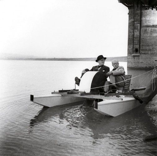 Le Corbusier and Pierre Jeanneret relaxing on the Shukna Lake on a pedal boat manufactured by Pierre Jeanneret, c. 1950. Photo by Sureh Sharma.