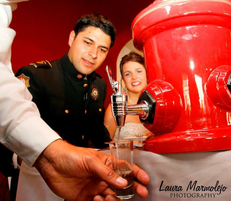 Tequila from a firehydrant for my firefighter wedding
