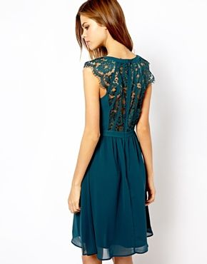 Absolutely stunning Warehouse Lace Back Soft Dress in teal. WOW. Lace, floaty, gorgeous.