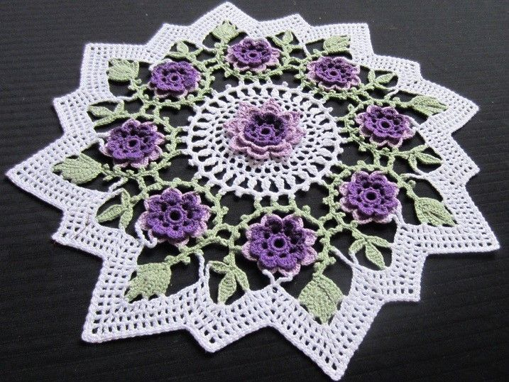 WILD SPRING ROSE CROCHET DOILY -  NEW, PURPLE/LAVENDER, FROSTY GREEN, WHITE