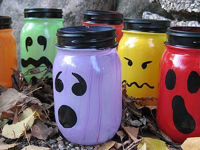 Mason Jar idea for Halloween.. These would look so cute lit up on a shelf at home.. GONNA DO THIS FOR SURE!