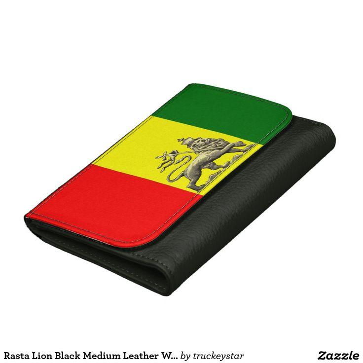 Rasta Lion Black Medium Leather Wallet