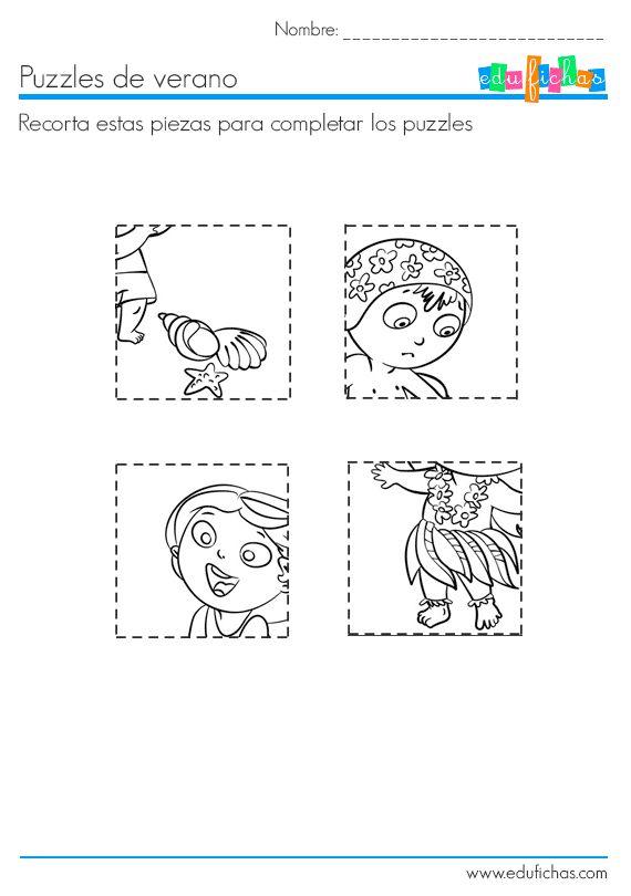 puzzle recortable hoja 2  Puzzle recortable para niños, hoja 2.   http://www.edufichas.com/pasatiempos-para-ninos/puzzle-recortable-para-ninos/  #niños #pasatiempos #niños