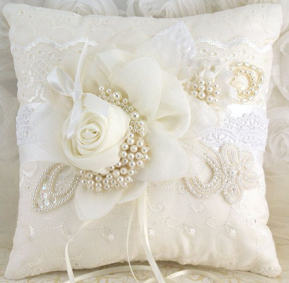 Bridal Pillow - Ring Bearer Pillow in Ivory and White with Lace, Pearls and Chiffon - Vintage Touch
