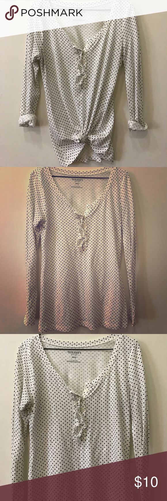Old Navy Long Sleeve Polka Dot Tee Looks cute styled different ways. Ruffle detail on button up front. Old Navy Tops Tees - Long Sleeve