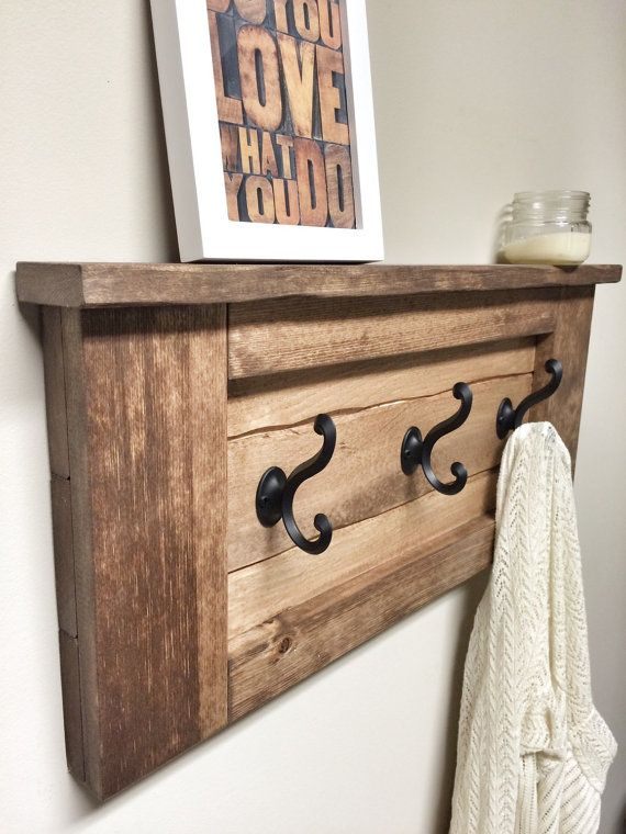 Rustic Wooden Entryway Walnut Coat Rack, Rustic Wooden Shelf, Entryway Rack, Coat Rack, Rustic Home Decor, Rustic Furniture, Floating Shelf                                                                                                                                                                                 More