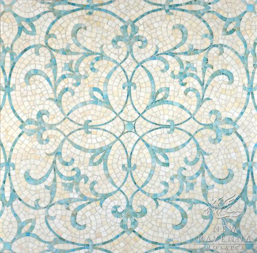 Marabel, a handmade jewel glass mosaic in Aquamarine and Quartz | Sara Baldwin for New Ravenna