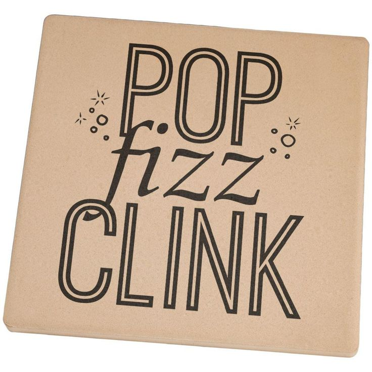 New Years Pop Fizz Clink Square Sandstone Coaster