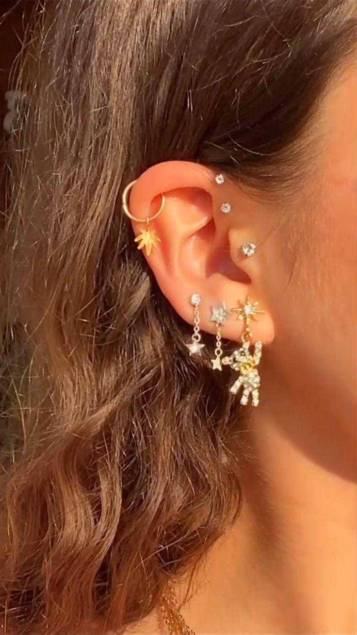 Cute Earrings, Statement Earrings, Silver Earrings, Dangle Earrings, Hand Jewelry, Body Jewelry, Cute Jewelry, Dainty Jewelry, Cartilage Earrings