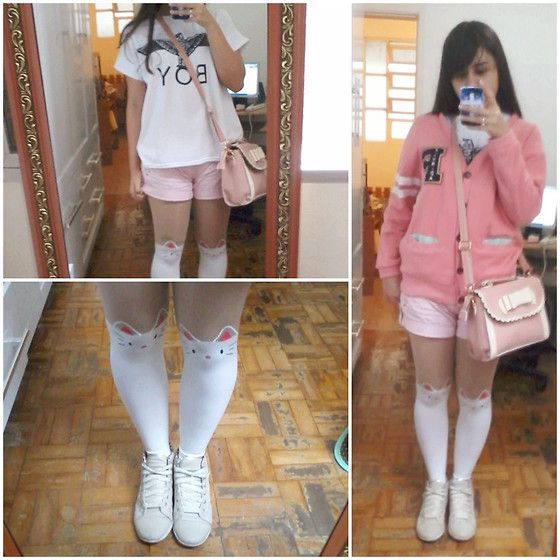 Boy T Shirt, Ebay Cat Tights, Sheinside Sweater, Ebay Purse, Besni Nude/Golden High Boots