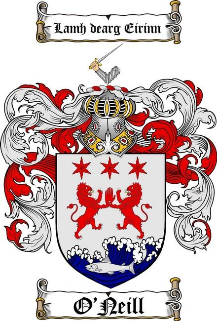 O Neill Family Crest Coat Of Arms Gifts At Www 4crests Com O Neill Coat Of Arms O Neill