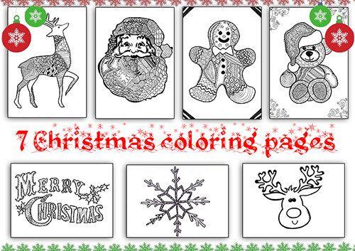 Set disegni di Natale 7 pagine da colorare zentangle libro da colorare disegni per bambini adulti download da stampare pagina da colorare