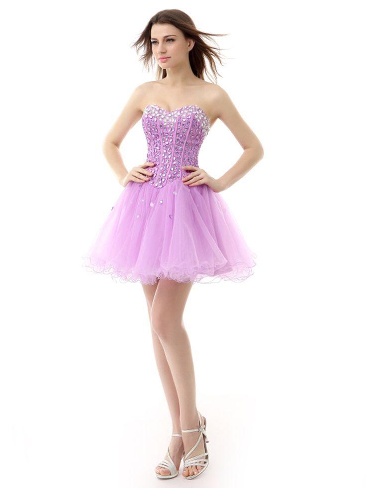 Alline sweetheart sleeveless rhinestore shortmini lilac