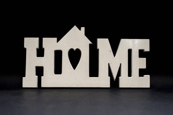 Home Decor HOME Wall Sign Wooden Letter Craft by CraftAvenueStore