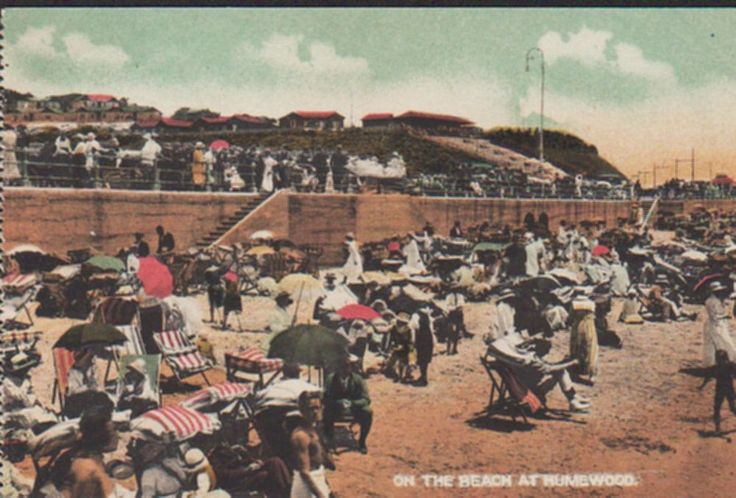 Humewood, Port Elizabeth, South Africa, On Beach, old unused coloured postcard